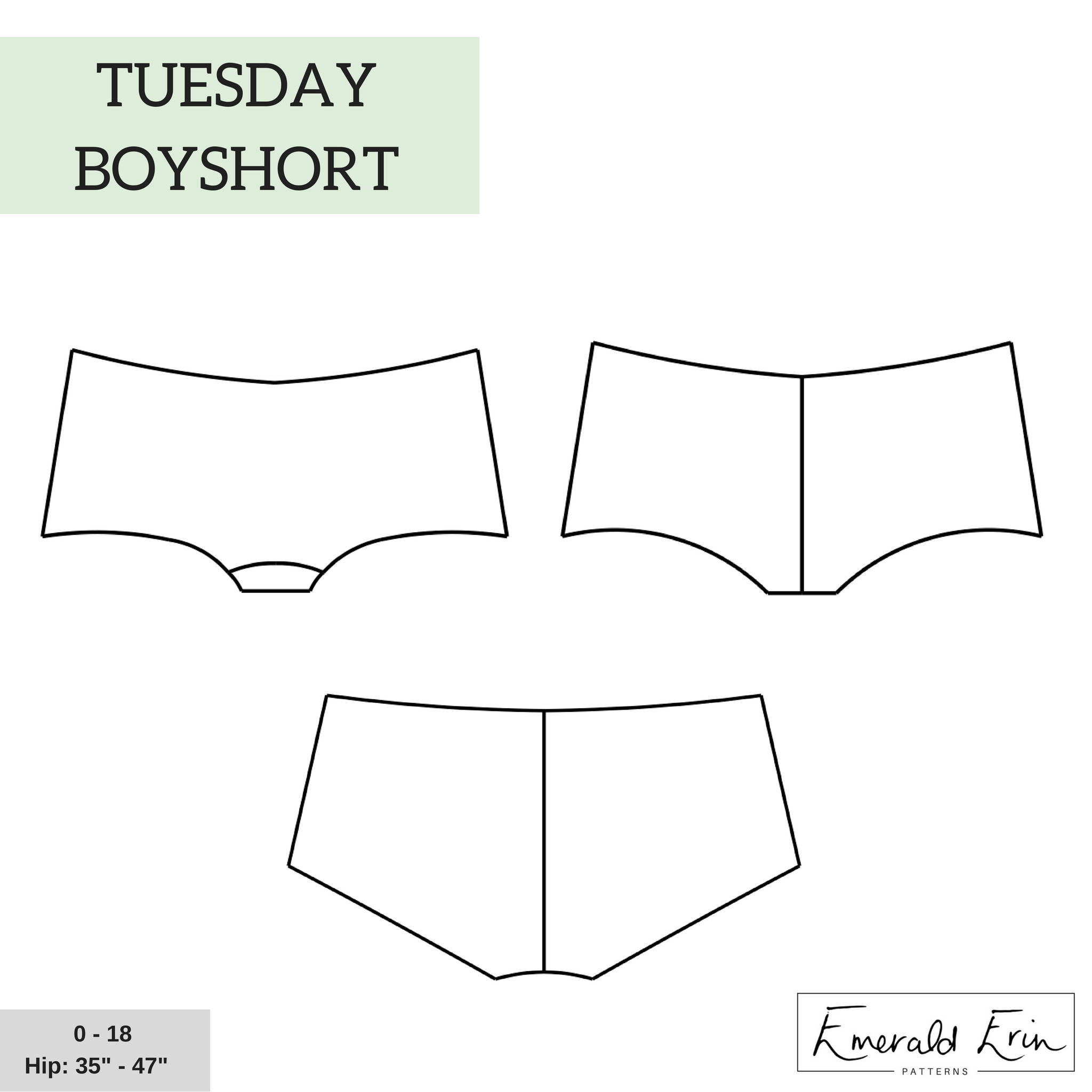 Tuesday Boyshort by Emerald Erin